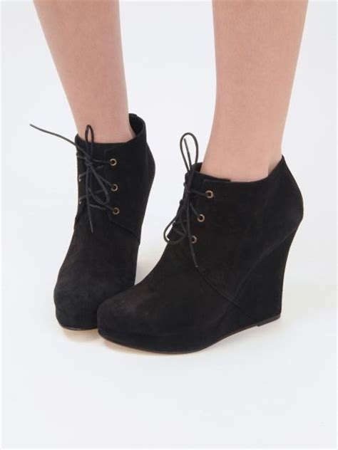 opening ceremony stefania suede black wedge ankle boot in