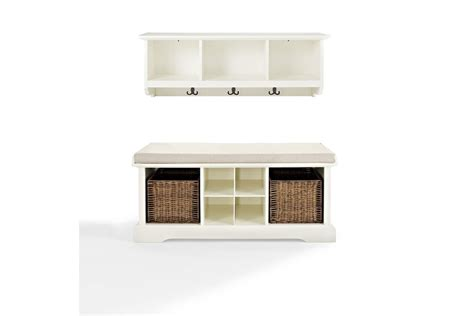 entryway bench and shelf brennan 2 piece entryway bench and shelf set in white by crosley