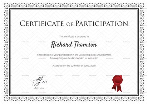 training participation certificate design template in psd