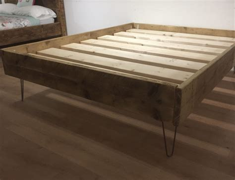 chunky rustic solid pine bed  hairpin legs newco