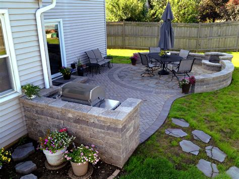 paver patio with grill surround and pit by hoffman