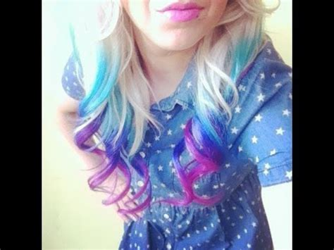 at home hair color hit the bottle follow this haircare diy multicoloured ombre look hairdye turquoise lilac p