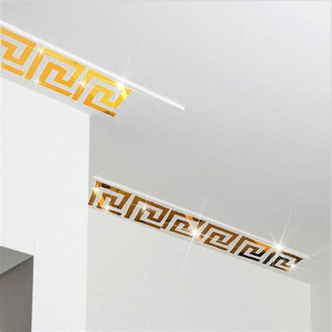 Wall Border Sticker 4 factory price 10pcs modern geometric mirror like reflective wall border sticker for bedroom