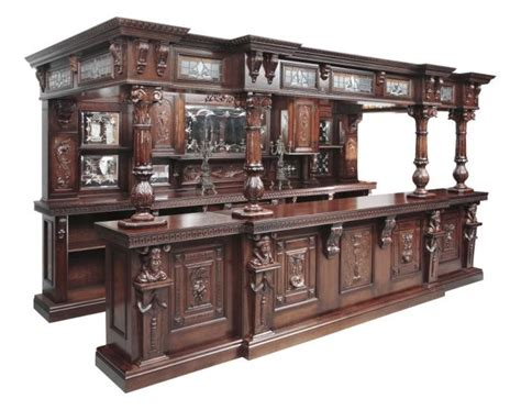 14ft large mahogany ornate canopy pub bar w mirrored back