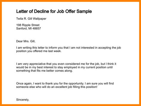 Turn A Offer Letter 9 How To Decline A Offer Sle Applicationleter