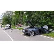 Silver Lamborghini Aventador Crashes In Germany  GTspirit