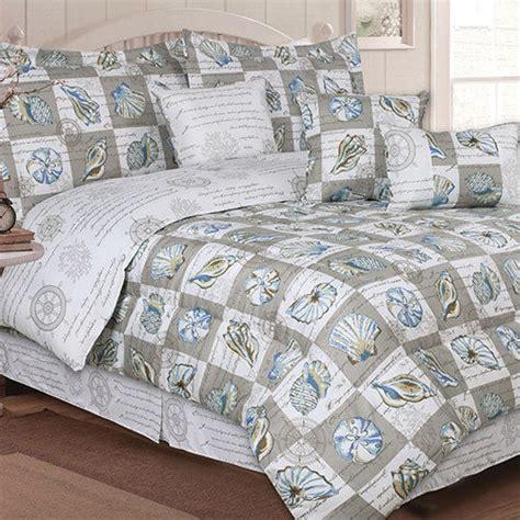 seashell comforter sets nautical elite ocean seashell 7 piece bed in bag comforter