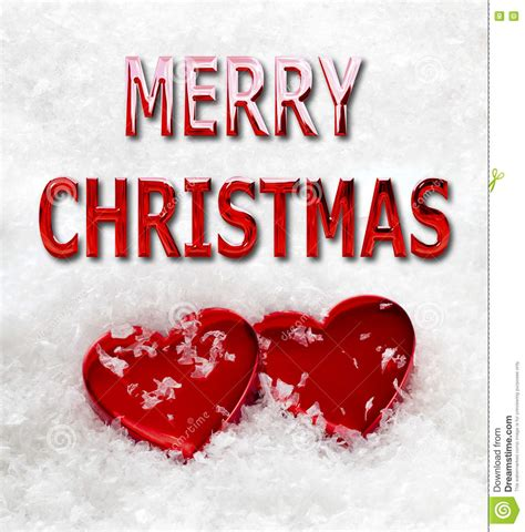 merry christmas love hearts  snow stock photo image  bright cold