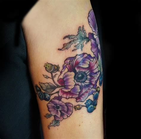 anemone tattoo anemone purple flower by mennella tattoonow