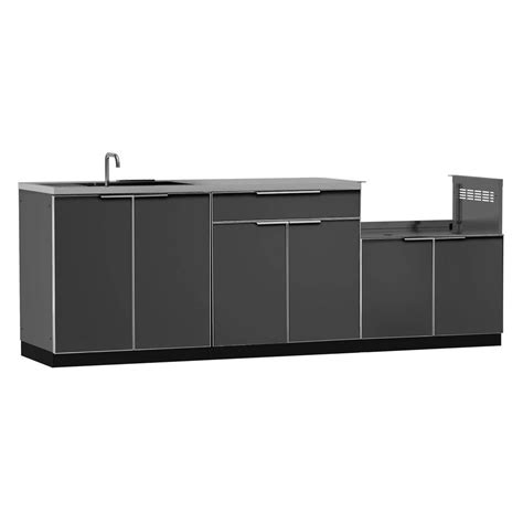 outdoor kitchen cabinets home depot newage products aluminum slate 4 piece 97x36x24 in