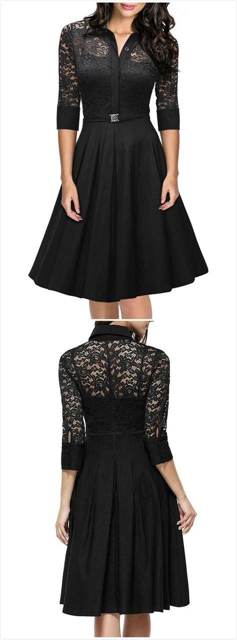 Lace Panel 3 4 Sleeve Dress lace panel 3 4 sleeve a line pleated dress novashe