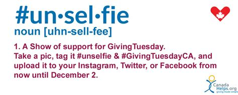 Celebrate Givingtuesdayca With An Unselfie Canadahelps Donate To Any Charity In Canada Unselfie Giving Tuesday Template