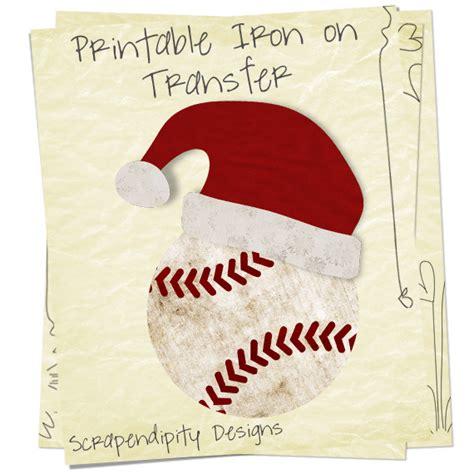 Baseball Niron Cloth scrapendipity designs 187 santa baseball iron on transfer