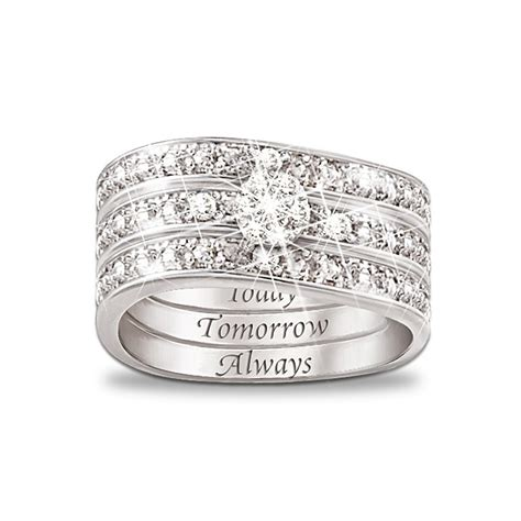 today tomorrow always engraved 3 band ring