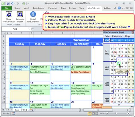 Calendario W Wincalendar For Windows Word Excel Organizery