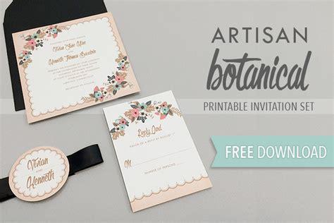 free wedding invitation suite templates artisan botanical free printable wedding invitation