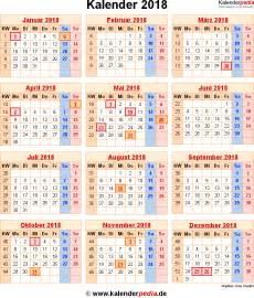 Kalender 2018 Mit Feiertagen Kalender 2018 Mit Excel Pdf Word Vorlagen Feiertagen