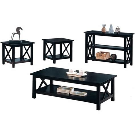 wood coffee table sets coaster 5909 black wood coffee table set a sofa furniture outlet los angeles ca