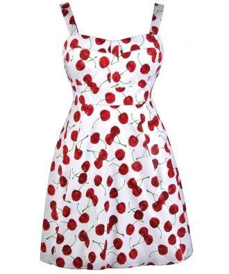 Dress Chery cherry print dress plus size dress retro print