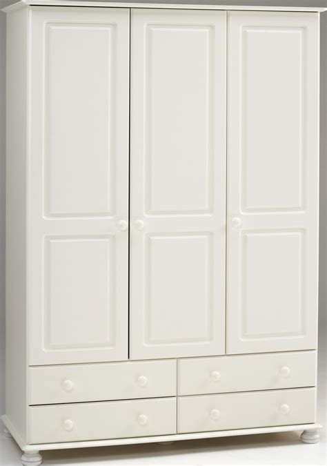 3 Door White Wardrobe With Drawers by White 3 Door Wardrobe 4 Drawers Steens Richmond