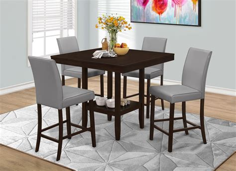 counter height dining set with leather chairs grey leather counter height dining chair set of 2 1902