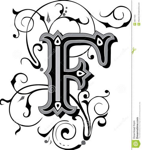lettere gotiche decorate bel ornement lettre f photo libre de droits image 38517925