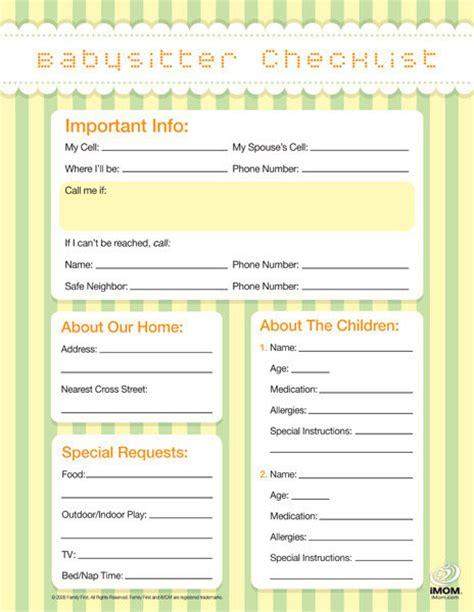 printable babysitter instructions babysitter checklist imom
