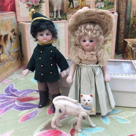 jointed doll cat jointed miniature all bisque cat for your mignonette