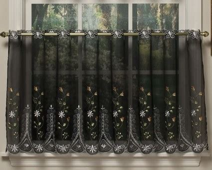 Black Tier Curtains 36 Quot Kitchen Curtain Tier Black Linens4less