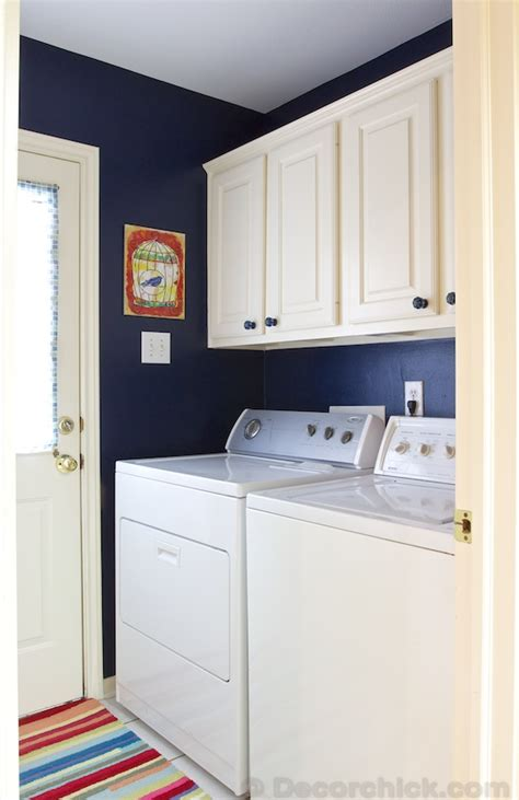 laundry room makeover with navy blue paint www decorchick best of