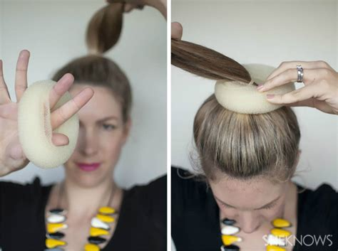 ponytail donut hair how to top knot hairstyle tutorial