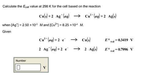 calculate the e cell value at 298 k the cell based