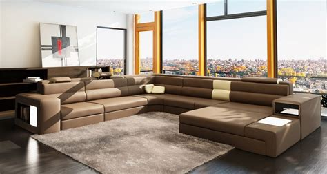 Polaris Sofa by Polaris Brown Italian Leather Sectional Sofa