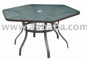 Hexagonal Patio Table Patio Furniture Steel 52 Quot Hexagonal Glass Dining Patio Table