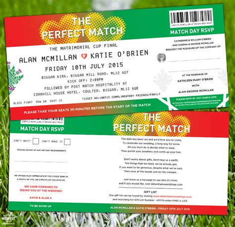 football ticket wedding invites wedfest