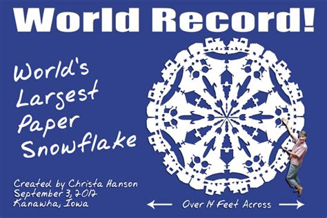 world s largest paper snowflake