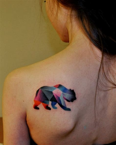 geometric bear tattoo geometric bear tattoo on back