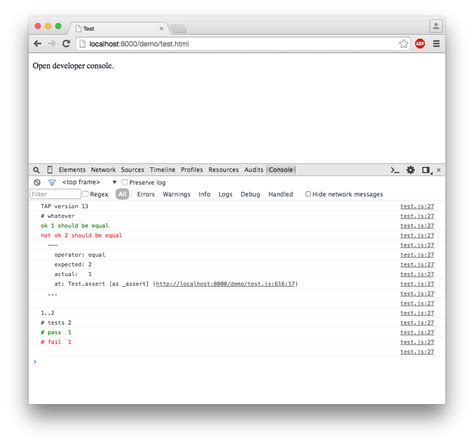 browser console log tap browser console color