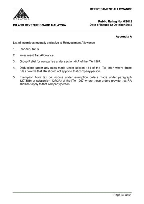 lhdn public ruling reinvestment allowance 2012 inland revenue board malaysia