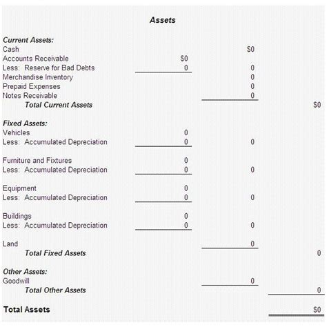 End Of Year Balance Sheet Template by