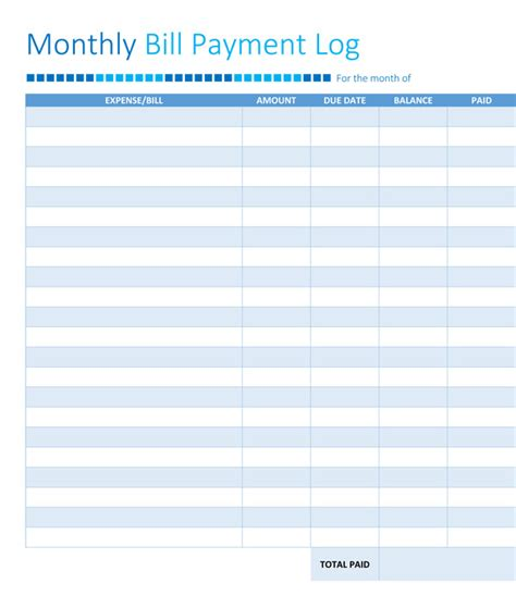 bill payment record template 5 free bill organizer templates printables free