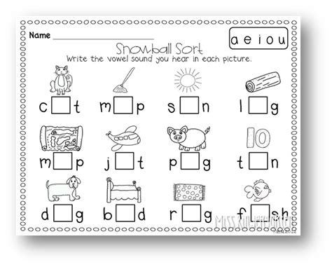 Middle Sound Worksheets by January Centers Literacy Miss Kindergarten