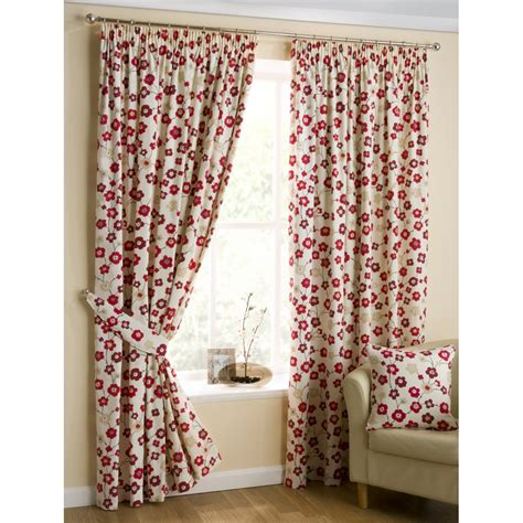 red print curtain panels belfield furnishings cherry blossom print red pencil pleat