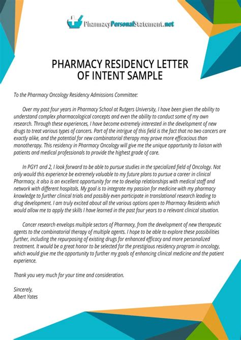 pharmacy residency letter of intent sle by