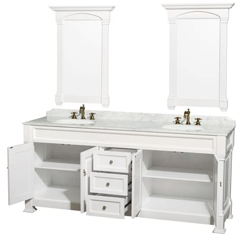 80 Inch Bathroom Vanity Andover 80 Inch Traditional Bathroom Vanity Set White Finish
