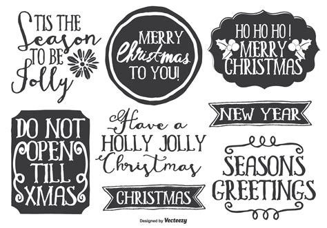 cute messy hand drawn style christmas label set   vectors clipart graphics