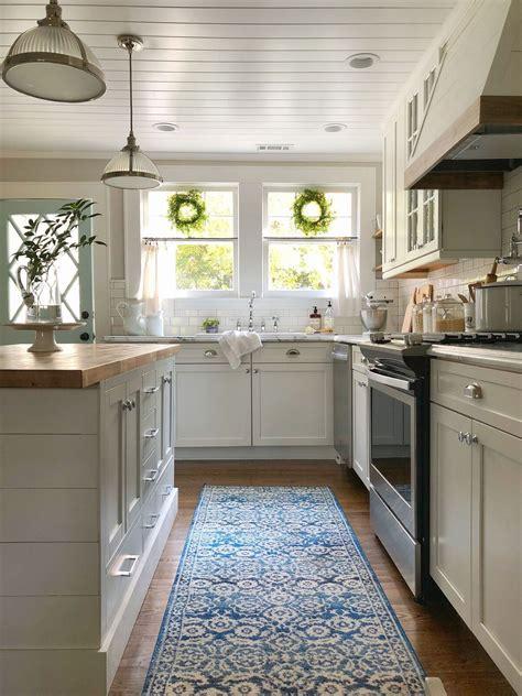 white farmhouse kitchen  shiplap island tongue