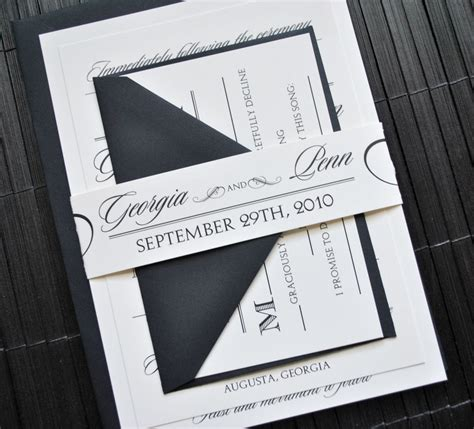 Wedding Invitations Belly Band by Wedding Invitation Suite With Belly Band Ivory And