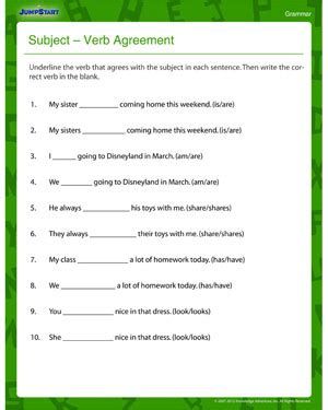 subject verb agreement and printable third grade