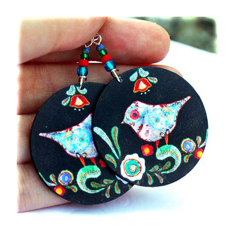 Decoupage Jewelry - birds earrings folk primitive funky decoupage